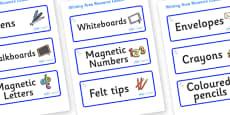 Unicorn Themed Editable Writing Area Resource Labels