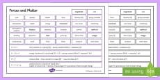 * NEW * Edexcel Physics Forces and Matter Word Mat