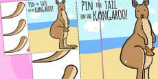 Pin The Tail On The Xmas Kangaroo A4 (Australia)