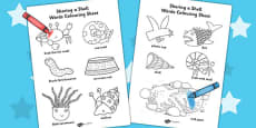Words Colouring Sheet to Support Teaching on Sharing a Shell