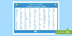 Common Exception Words years 1 2 3 and 4 Alphabet Word Mat