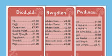Individual Cafe Menus (Welsh Translation)