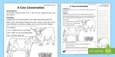 * NEW * Cow Conversations Activity Sheet