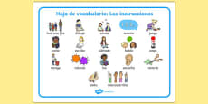 New EAL Starter Instructions Word Mat Spanish