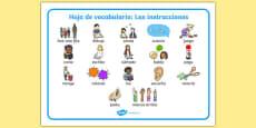 New EAL Starter Instructions Word Mat Spanish
