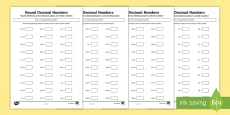 * NEW * Year 5 Round Decimal Numbers Activity Sheets