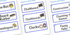 Sapphire Blue Themed Editable Additional Classroom Resource Labels