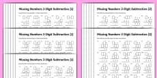 Subtraction 3-Digit Missing Numbers Differentiated Activity Sheet Pack