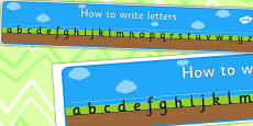 How to Write Letters Display Banner - Ground, Grass and Sky - Plain