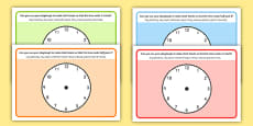 O'Clock Half Past and Quarter Past Time Playdough Mat English/Polish