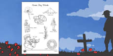 Australia - Anzac Day Words Colouring Sheet