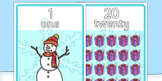 Winter Themed Number Posters with Words & Numbers (1-20)