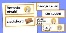 Baroque Period Music Word Cards