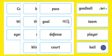 The Paralympics Goalball Word Cards