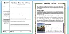 KS2 Tour de France Differentiated Reading Comprehension Activity