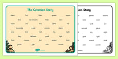 Adam and Eve Creation Story Word Mat