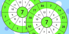 7 Times Table Wheel Cut Outs