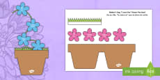 Mother's Day Flowers in Pot Card Craft English/Portuguese