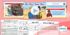 PlanIt - Geography Year 2 - Sensational Safari Lesson 6: My Day Your Day Lesson Pack