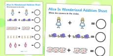 Alice in Wonderland Addition Sheet