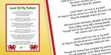 Welsh National Anthem Poster with English Lyrics