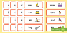 'sk' and 'k' Near Minimal Pair Word Cards
