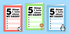 5 Things I Love About Dad Father's Day Card Template