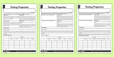 Differentiated Testing Properties Activity Sheet