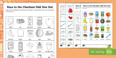 * NEW * Race to the Checkout Odd One Out Activity Sheet