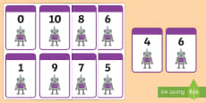 Number Bonds to 10 Matching Cards (Robots)