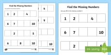 Find the Missing Numbers Activity Sheet