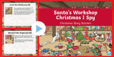 KS1 Santa's Workshop Christmas I Spy Story Starters PowerPoint