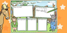 Story Review Writing Frame to Support Teaching on What's The Time, Mr Wolf?