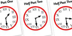 Roman Numerals Clocks Half Past