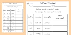Suffixes Activity Sheet