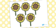 Five Little Sunflowers Counting Song Cut Outs