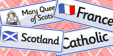 Mary Queen of Scots Word Cards