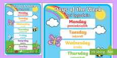 * NEW * Days of the Week Display Poster English/Polish