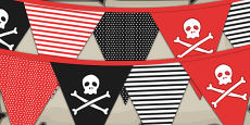 Pirate Themed Birthday Party Pattern Bunting