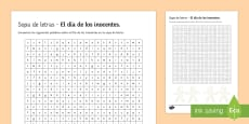 * NEW * Middle Ability April Fools' Day Differentiated Word Search Spanish