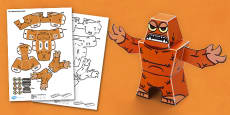Fluffy Monster 3D Halloween Paper Model