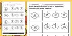 Autumn Themed Capital Letter Matching Activity Sheet
