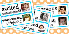 Large Detailed Emotions and Feelings Photo Word Cards EAL Romanian Translation