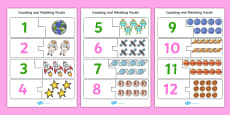 Space-Themed Counting and Matching Puzzle
