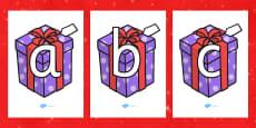 A-Z Alphabet on Christmas Presents