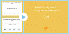 Contracting Words Using an Apostrophe SPaG Punctuation PowerPoint Quiz