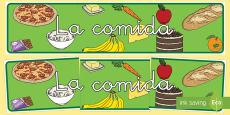 La comida Pancarta Spanish / Español
