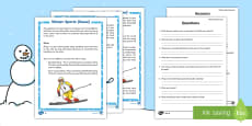 KS1 Winter Sports on Snow Differentiated Reading Comprehension Activity