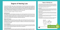 Deaf Awareness   Degree of Hearing Loss Information Sheet for Staff