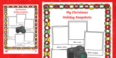 Christmas Holiday Snapshots Writing Frame